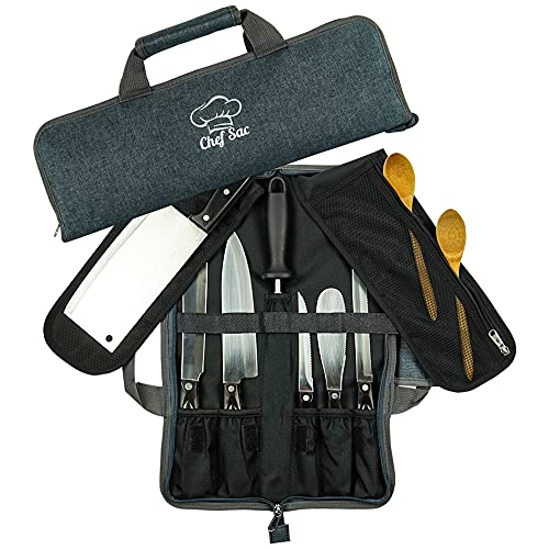 Chef Knife Bag Roll Bag Case | 8 Pockets for Knives & Kitchen Utensils | 2 Protective Flaps with Butcher Knife Pocket & Mesh Pocket | Durable Knife Case for Chefs & Culinary Students (Denim Grey)