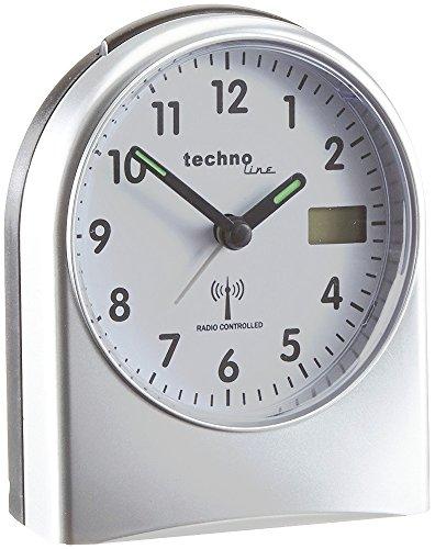 Technoline analoger Funkwecker WT 755 mit Schlummerfunktion und Beleuchtung (Silber mit Batterien)