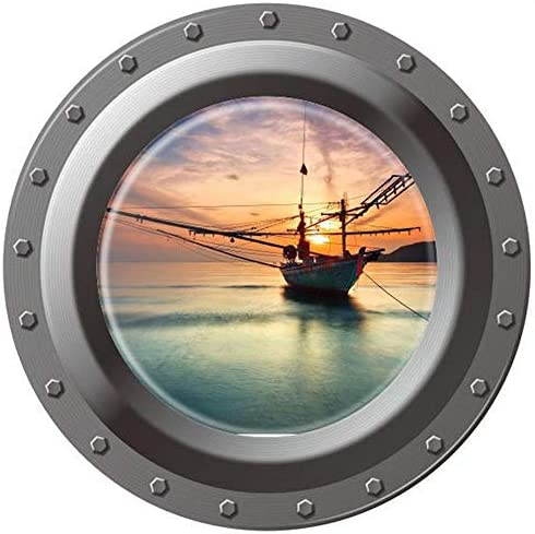 Home Find 3D High Definition Faux Submarine Porthole View Ship Boat on The Sea Sunrise Scenery product image