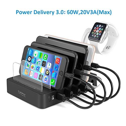 Multi USB Charger Caricabatterie USB-C PD 105W, Stazioni di Ricarica con 1 Porta PD di Tipo-C da 60W e 5 Porte USB da 45W per MacBook, Portatili con U