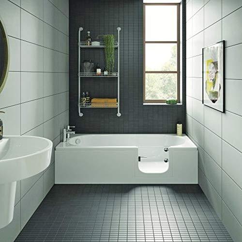 Badewanne mit Tür, Seniorenbadewanne 169,5x70x51cm mit Wannenschürze und Ablauf/Sifon, Ausführung RECHTS
