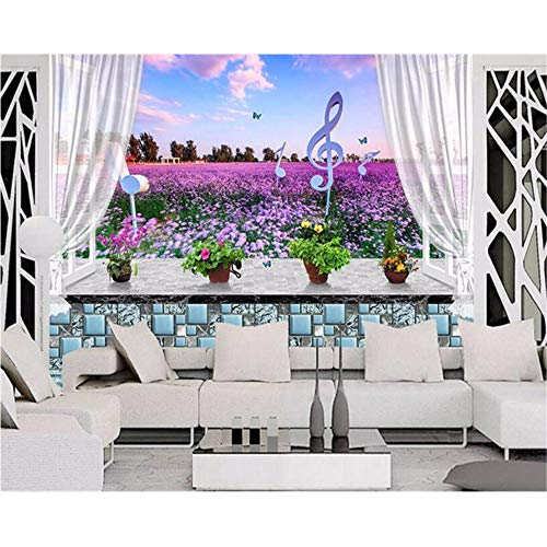 Xzfddn Hd Wallpaper Für Wände 3D Fensterbank Lavendel Blumen 3D Wandbild Wand Hintergrund Moderne Mode Persönlichkeit Tapete-450X300Cm
