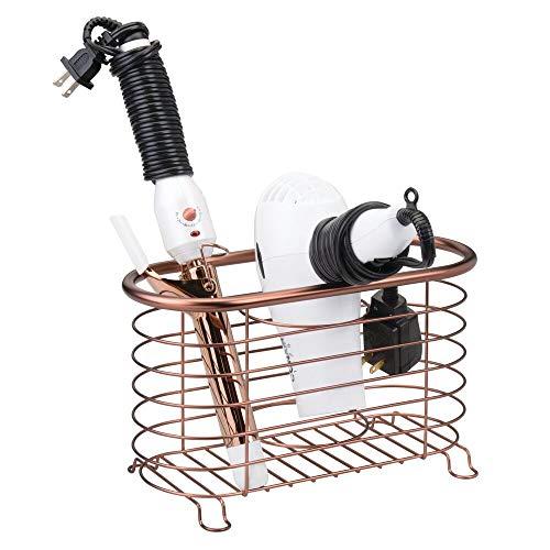 mDesign Porte sèche-Cheveux sans perçage – Panier pour sèche-Cheveux Polyvalent en métal grillagé – Module de Rangement Multifonction pour Fer à boucler et lisseur – Couleur Bronze
