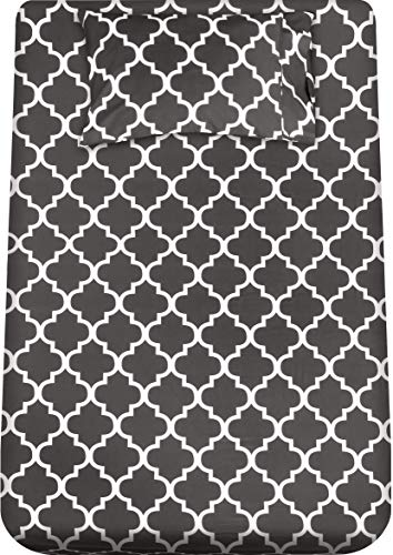 Utopia Bedding - Juego Sábanas de Cama Estampadas - Microfibra Cepillada - Sábanas y 1 Funda de Almohada - (Cama 90, Gris)