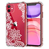 MoKo Compatible with iPhone 11 Case, Clear Reinforced Corners TPU Bumper + Anti-Scratch Transparent Hard Panel Cover Fit Apple iPhone 11 6.1 inch 2019 - Crystal Lace