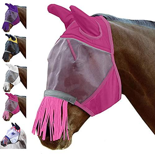 BZZBZZ 10 PCS Horse Fly Mask Transpirable Cómodo Malla Fina Suministros ecuestres de Verano al Aire Libre con Borla y diseño Reflectante para prevenir los Mosquitos
