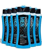 Marchio Amazon - Solimo Gel doccia sport uomo 3 in 1 (Corpo, viso, capelli) Freschezza per 24 ore- Confezione da 6 (6 flaconi x 400 ml)