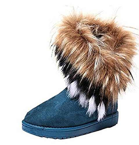 Warm Fur Winter Boots for Women - Stylish Womens Winter Boots Mid Calf Ankle Boots Faux Fur Tassel Shoes Blue