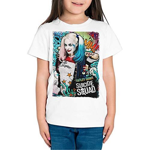 Camiseta Niña Superhéroe y Villanos Harley Quinn (Blanco, 11 años)