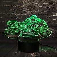 3D LED錯視ランプ ナイトライトデスクテーブルオートバイコンペティションRGB 7カラーチェンジボーイキッド玩具USBベーススイッチクリエイティブ