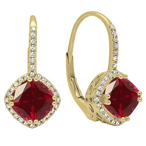 18K amarillo oro 6mm cada cojín Gemstone y redondo blanco diamante, de Halo estilo pendientes de aro