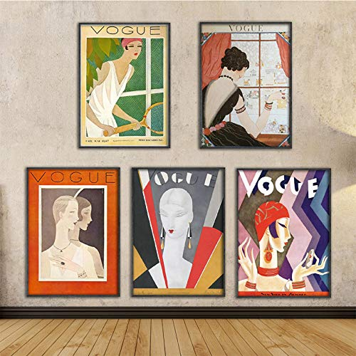 Vintage Vogue Magazine Figura Citas Carteles e Impresiones Lienzo Pared Pop Art Pintura en Blanco y Negro Imagen Decorativa nórdica / 40x60cmx5Pcs (sin Marco)