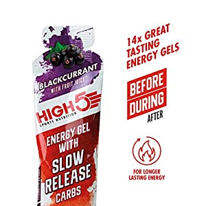 HIGH5 Slow Release Energy Gel   Low Gi Sports Energy Gel   Enhanced with Ocean Minerals   Slow Release Energy Supply (Blackcurrant, 14 x 62 g)