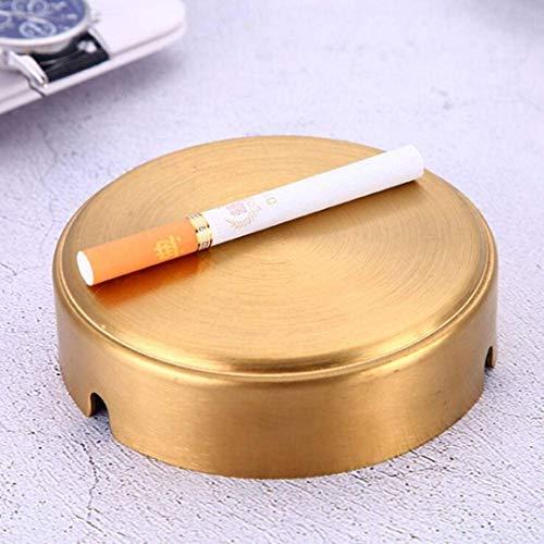 AMITD RVS goud round asbak milieuvriendelijke asbak voor sigaretten rookvrij bestand tegen hoge temperaturen