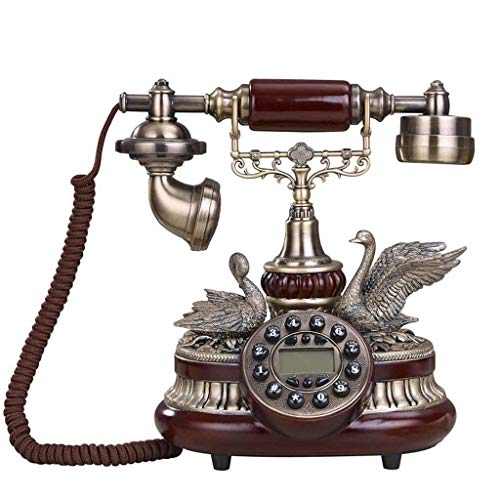 Sywlwxkq Hermoso teléfono, teléfono Teléfonos Antiguos Estilo Vintage Teléfono Fijo con dial Giratorio Cuenta con Timbre Tradicional y pulsador Teléfonos con Cable Acabado en Metal Bronce