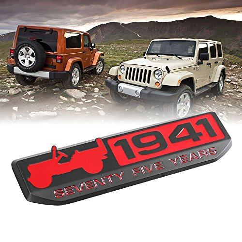 Toppower 1941 Anniversary Edition Emblem Black für Jeep Wrangler Willy's 75th Rot