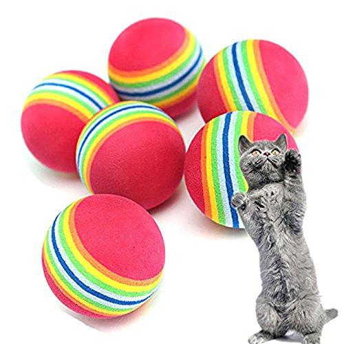 KTENME 10 Stück Persönlichkeit EVA Material schwimmendes Katzenspielzeug Pet Toy Super Q Rainbow Ball interaktives weiches Plüsch Kissen Kauen Biss Kick Supplies für Indoor Pet