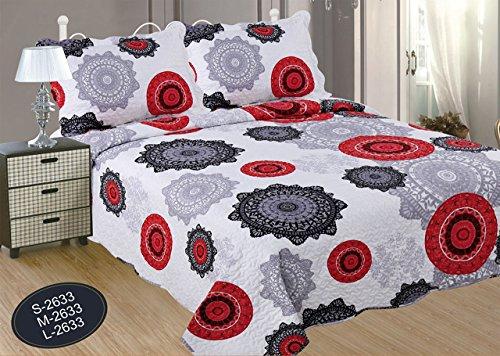 ForenTex- Colcha bouti Reversible, (M-2633), Cama 135 cm, 230 y 260 cm, Estampada Cosida, Mandalas Rojo y Negro