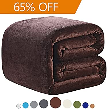 Richave Fleece Blanket Queen Size 350GSM Lightweight Throw for The Bed Extra Soft Brush Fabric Super Warm Sofa Blanket 90  x 90 (Brown Queen)
