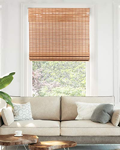 """CHICOLOGY Cordless Bamboo Roman Shades, Light Filtering Window Treatment Perfect Resort Feel for Living Dining Room/Bedroom and More, 23""""W X 64""""H, Squirrel"""
