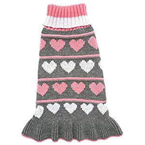 Jecikelon Pet Dog Long Sweaters Dress Knitwear Turtleneck Pullover Warm Winter Puppy Sweater Long Dresses