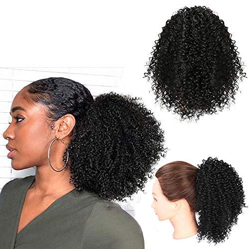 Vigorous Short Afro Curly Ponytail Hair Piece for African American Women Ponytail Extension Afro Drawstring Curly Ponytail for Women