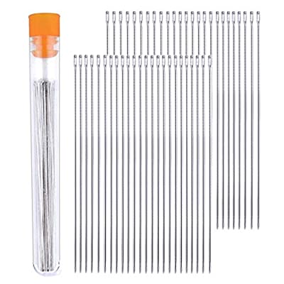 BronaGrand 50 Pieces Long Beading Needles with Needle Bottle,0.45 mm Diameter and 80 mm/ 3.15 inches Long