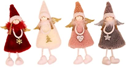4 peças de boneca de natal linda enfeite de anjo de natal com pingente de boneca de natal
