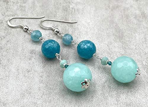 Pendientes de jade turquesa cuarzo azul y amazonita, plata 925, joyas con piedras naturales, estilo moderno, made in italy