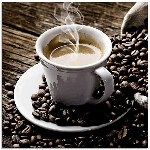 Artland Glasbilder Wandbild Glas Bild einteilig 20x20 cm Quadratisch Kaffee Coffee Cafe Cappuccino Espresso Kaffeebohnen T5VA