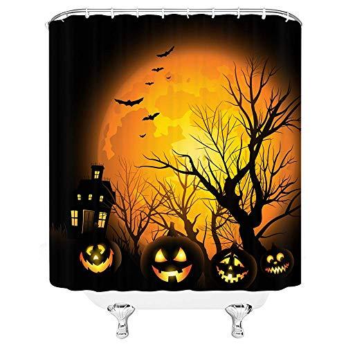 vrupi Halloween Moon Duschvorhang Kürbis Lampe Twiggy Twig Schloss Fledermaus Nacht Mond Schwarz Orange Bad Vorhänge Dekor Polyester Stoff Schnelltrocknende 72x72 Zoll Inklusive Haken