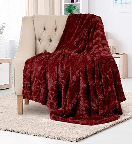 Everlasting Comfort Manta de piel sintética de lujo, ultra suave y esponjosa, manta de felpa para sofá cama y sala de estar, otoño invierno y primavera, 50 x 65 cm (tamaño completo), color rojo