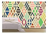wall26 - Rhombuses Seamless Pattern. Geometric Background. - Removable Wall Mural | Self-Adhesive Large Wallpaper - 100x144 inches