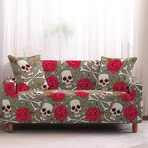 Funda elástica para sofá con diseño de calavera 3D, antideslizante, elástica, 1/2/3/4 plazas, 2 plazas, color 4