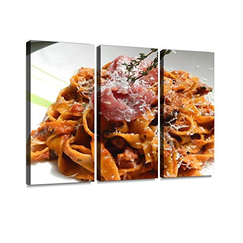 HABEN ARTWORK Image of tagliatelle Pasta with Crispy pancetta ham, Parmesan Cheese Print On Canvas Wall Artwork Modern Photography Home Decor Unique Pattern Stretched and Framed 3 Piece