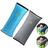 Auto Seat Belt Pillow Car Safety Belt Protect,Shoulder Pad,Adjust Vehicle Seat Belt Cushion for Children,Kids Seatbelt Pillow 2 Packs (Gray,Blue)