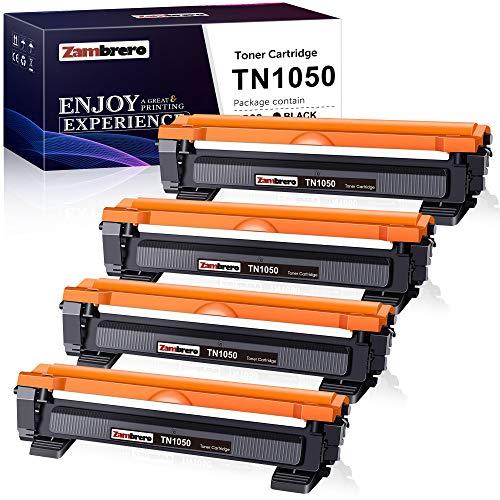 Zambrero TN-1050 TN1050 Cartucho Tóner Compatible para Brother DCP-1612W DCP-1610W DCP-1510 DCP-1512, Brother HL-1212W HL-1210W HL-1110 HL-1112, Brother MFC-1910W MFC-1810 (4 Negro)