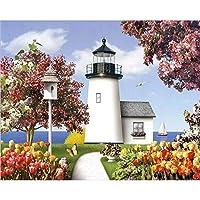 数字油絵 大人のための数字で塗る子供たちの海辺の町DIY手塗り油絵の風景写真ホームウォールの装飾ギフト (Color : 991438, Size(cm) : 40x50cm diy frame)