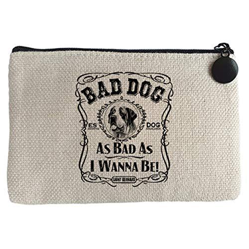 Diver Bebé Monedero frase perro raza San Bernardo Bad dog as bad as I wanna be - Beige, 15 x 10 cm