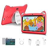 Tablet per Bambini 7 Pollici Android 10 Pie Tablets 3GB RAM 32GB/128GB ROM - Certificato Google GMS - WIFI | Bluetooth | GPS | iWawa APP| Doppia Fotocamera Tablet (rosso)