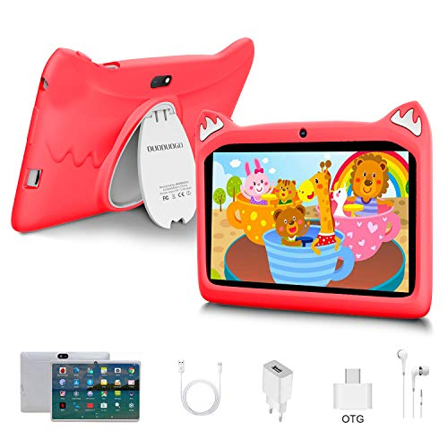 Touch Kids Tablet Android 10 OS 7' IPS Display 3GB RAM 32GB ROM / 128GB Scalable Kidoz & Google Play Pre-Installed with Kid-Proof Case (red)