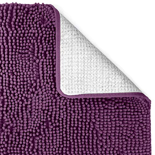 Vedouci 36x24 Inch Chenille Non-Slip Mats,Extra Soft and Microfiber Bath Rugs,Super Absorbent and Machine Washable Bath Mats,Perfect Plush Carpet Mats for Tub, Shower and Bath Room,Mulberry
