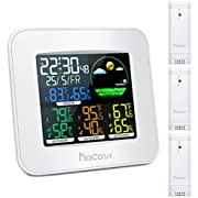 HOCOSY Digital in&Outdoor Hygrometer Thermometer, Color Wireless Weather Station, Temperature Humidity Monitor 3 Outdoor Sensor, Alarm Clock Function, Time/Date Display