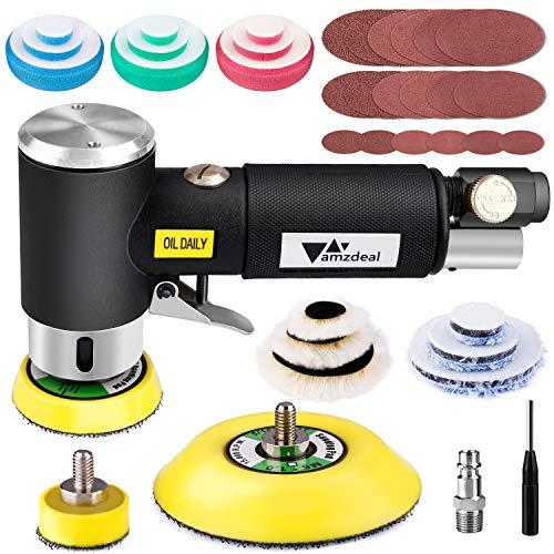 amzdeal Exzenter Poliermaschine, Druckluft Polierer 16000 RPM mit Einstellbare Geschwindigkeit, mit Polierteller/PolierenPad/Schwammpad/Wollscheibe, zum Polieren von Auto, Möbeln, Metall