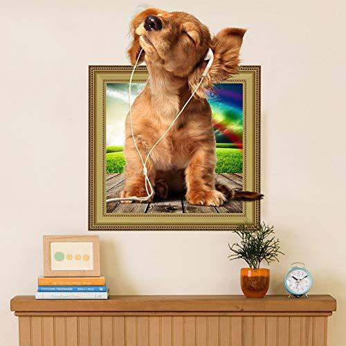 Preisvergleich Produktbild ZXFMT Wandaufkleber Musik Hunde Wandaufkleber Kühlschrank Badezimmer Wohnzimmer Schlafzimmer Haustier Dekor Wanddekor 3D Effekt Tier Wandtattoos Kunstwand