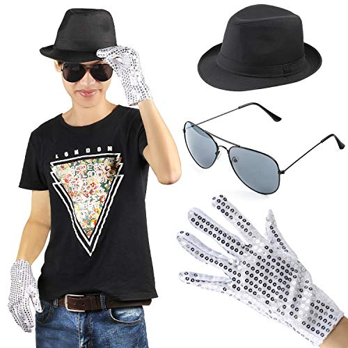 Beelittle MJ Michael Jackson Performance Kit Kostüm Zubehör Set - Fedora Hut Pailletten Handschuh und Sonnenbrillen