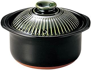 萬古焼 銀峯陶器 菊花 ごはん土鍋 (3合炊き, 織部釉)