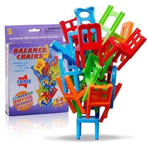 Tianlun Juego de Equilibrio de la Torre apilable de sillas, Silla Colgante apilable de 18 Piezas, sillas apilables de Equilibrio para niños, Juguetes apilables para Fiestas de Juguete, Juegos de Mesa