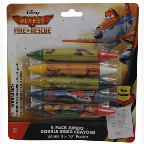 Disney Planes Fire & Rescue 5-Pack Jumbo Double Sided Crayons with Bonus Poster
