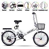 ZWFPJQD glj 20 Pulgadas Plegable Bicicleta De Paseo Bici Plegable Adulto Ligera Unisex Folding Bike Manillar Y Sillin Confort Ajustables,6 Velocidad,Capacidad 150kg / Blanco